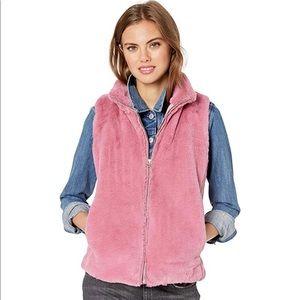 J. CREW Sz S Pink Plush Faux Fur Vest